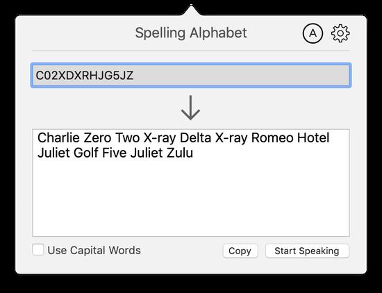Spelling alphabet